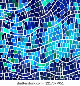 abstract vector stained-glass mosaic background - light and dark blue
