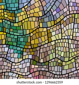 abstract vector stained-glass mosaic background - yellow and teal