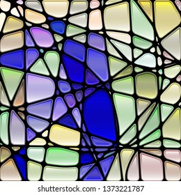 abstract vector stained-glass mosaic background - blue and light green