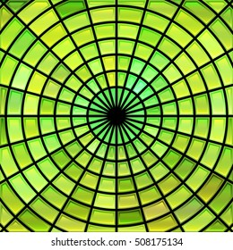 abstract vector stained-glass mosaic background - green and yellow