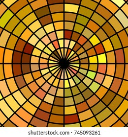 abstract vector stained-glass mosaic background - brown and yellow