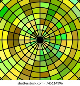 abstract vector stained-glass mosaic background - yellow and green