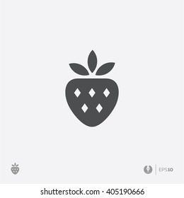 Abstract vector strawberry simple flat design icon