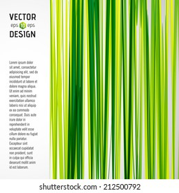 Abstract Vector Striped Background, Pattern of Green and Yellow Stripes with Banner