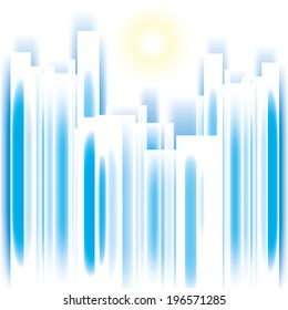 Abstract vector summer cityscape skyscrappers silhouette background