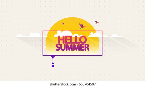 Abstract Vector Summer Greeting Card. Hello Summer.