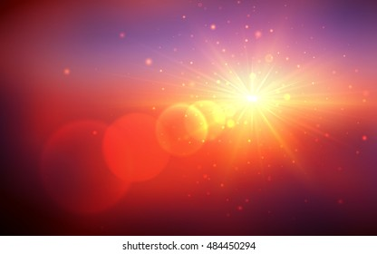 Abstract vector sunrise background. Sunrise or sunset with lens flares beams and particles. Clear sky horizon background