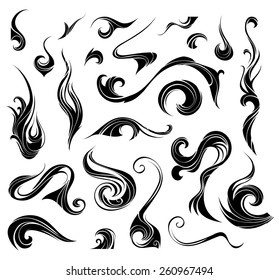 Abstract vector swirls. Black ornate elements for your design isolated on white background.