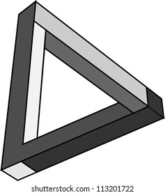 Abstract vector symbol, Penrose triangle on a white background