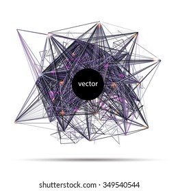 Abstract vector techno science banner of invitation for electronic music party or science conference. Vector illustration.