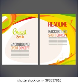 Abstract vector template design, brochure, Web sites, page, leaflet, with colored lines and waves, logo and text separately. Sport concept banners.Brazil 2016.