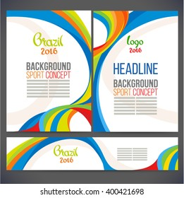 Abstract vector template design, brochure, Web sites, page, leaflet, with colored lines and waves, logo and text separately. Sport concept banners.2016 Brazil