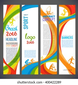 Abstract vector template design, brochure, Web sites, page, leaflet, with colored lines and waves, logo and text separately. Sport concept banners. Brazil 2016