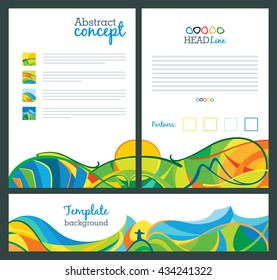Abstract vector template design, brochure, websites, page, leaflet, with colored lines and waves, A4 size. Travel concept banners, views on Rio, Latin America landscapes