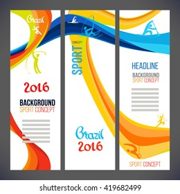 Abstract vector template design waves Brazil 2016 concept, brochure, Web sites, page, leaflet, with colored lines, logo and text separately. Sport banners. rio de janeiro 2016