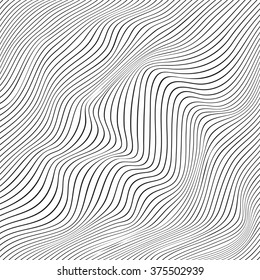 Abstract vector texture of curving lines, black and white narrow stripes, visual halftone effect, illusion of movement, op art pattern, dynamical ripply surface, artistic monochrome background