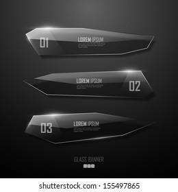 Abstract vector transparent glass banners