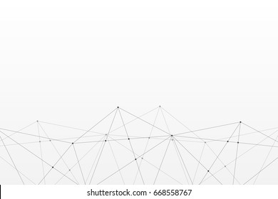 Abstract vector triangle pattern. Gray and white polygonal network background. Lines connection infographic frame illustration for business, marketing project, template, concept, web design
