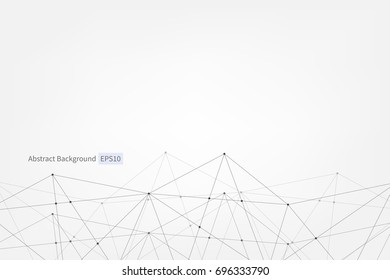 Abstract vector triangle pattern. Low poly medical, technology network background. Lines points connection scientific polygonal illustration for business, marketing, presentation, concept, web design