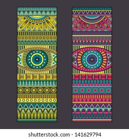 Abstract vector tribal ethnic background set
