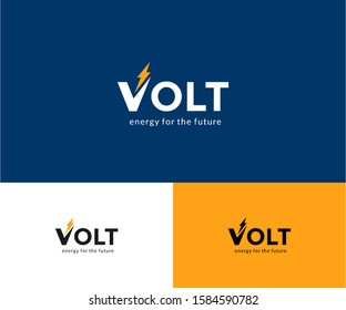 Abstract Vector Volt Logo in two color variations. Premium Logotype design for luxury company branding. Elegant simple identity design flat illustration. Icon template