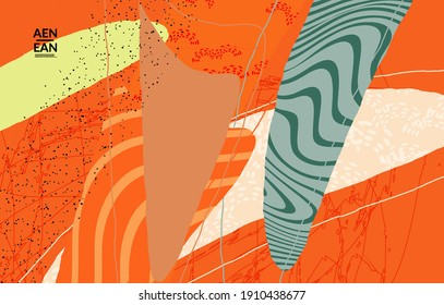 Abstract vector wallpaper. Exotic striped overlapping wavy shapes and lines. Packaging contemporary design. Natural motley artwork. Hand drawn textured background for social media fashion frame.