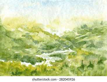 abstract vector watercolor landscape with mist and rising sun, hills and river, cobweb morning in mountains,  hand drawn illustration, nature background