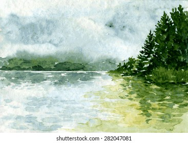 abstract vector watercolor landscape with river and spruce forest, rain clouds and reflection in water,  hand drawn  illustration, natural background
