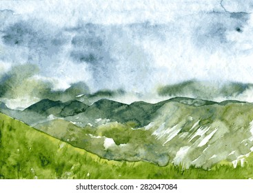 abstract vector watercolor mountain landscape, clouds and fog in mountains, rainy day, thunderstorm in the highlands  hand drawn  illustration, nature background