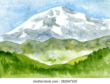 abstract vector watercolor mountain landscape with snow peak and green hills, hand drawn  illustration, nature background