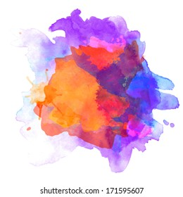Abstract vector watercolor palette of  blue and orange colors, mix color, background,vector illustration,a mixture of colors, stains with a spray of water colors, the author's work.