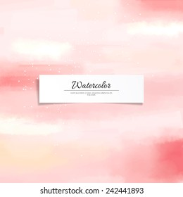 Abstract vector watercolor stain blurring background. Hand drawing. Realistic banner for your text.
