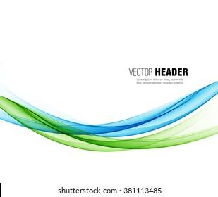 Abstract vector wave background, blue and green  waved lines for design brochure, website, flyer