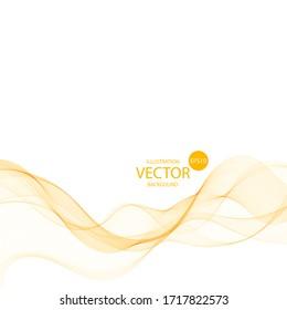 Abstract vector wave. Orange wavy lines