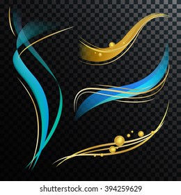 Abstract Vector Waves Digital Colorful Illustration. Blue and Gold Lines Design Elements. Graphic Background for Cosmetic Labels.