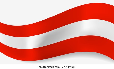 Abstract vector wavy Austrian flag with shadow on white background. Ribbon with red and white austrian flag colors for national holidays and events banners design