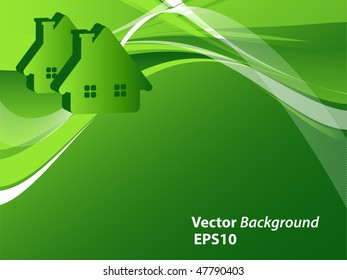 abstract vector wavy lines with houses and copy space. Eps10