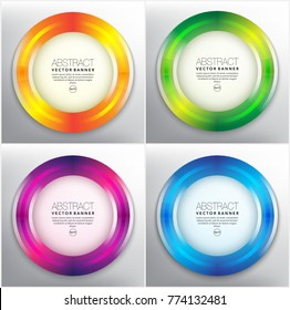 Abstract vector web banner set of 4. Circle banners in bright colors. Isolated on the light background. Each item contains space for own text. Vector illustration. Eps 10.