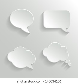 Abstract Vector White Speech Bubbles Set