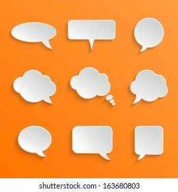 Abstract Vector White Speech Bubbles Set on Orange Background