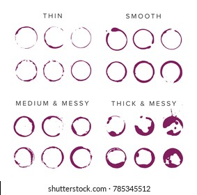 Abstract vector wine spill set. Collection of thin, medium, thick, smooth, messy alcohol marks, splatters and shapes.