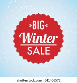 Abstract vector winter sale label with light background and red typography label.