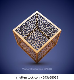 Abstract vector wireframe cube.