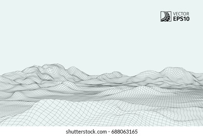 Abstract vector wireframe landscape background. Cyberspace grid. 3D wire frame surrounding.  3d technology wireframe vector illustration. Digital landscape for presentations . Polygonal surface.