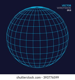 Abstract vector wireframe sphere glowing on dark background. Globe network concept. Sphere globe model