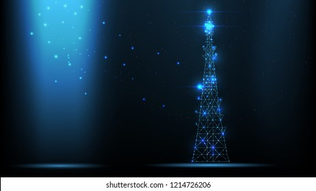 Abstract vector wireframe telecommunications signal transmitter, radio antenna tower from lines and triangles, point connecting network on dark background. Illustration vector.