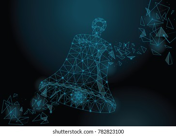 Abstract vectorial bell picture on a dark cosmic background. Low polygonal image built with the help of points, polygons and brilliant stars.Vector wireframe concept.
