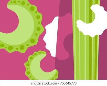 Abstract vegetable design in flat cut out style. Sliced celery on purple background. Vector illustration.