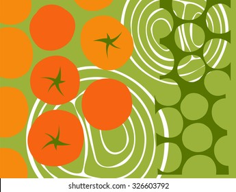 abstract vegetables. cherry tomatoes graphic design collage