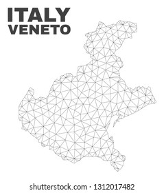 Abstract Veneto region map isolated on a white background. Triangular mesh model in black color of Veneto region map. Polygonal geographic scheme designed for political illustrations.